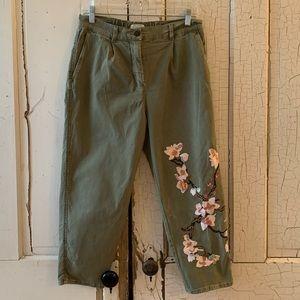 Zara Woman army green embellished capris Size 6